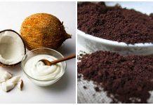 cà phê và dầu dừa dưỡng trắng da